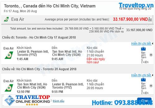 vé máy bay từ Canada về Việt Nam