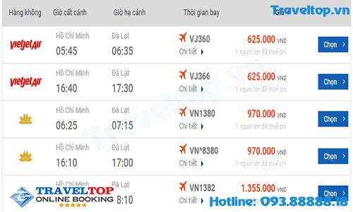 vé máy bay từ TPHCM đi Đà Lạt