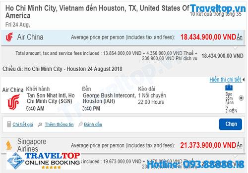 vé máy bay từ TPHCM đi Houston
