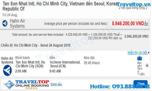 vé máy bay từ TPHCM đi Seoul
