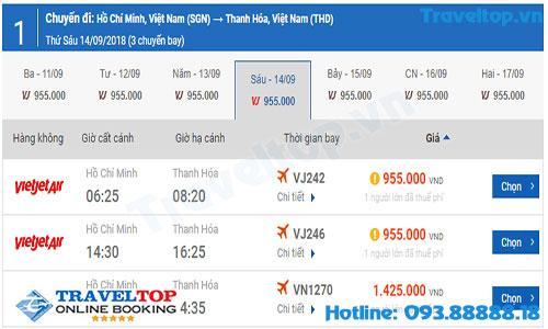 vé máy bay từ TPHCM đi Thanh Hóa