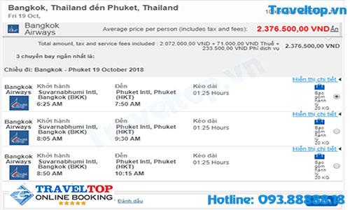 vé máy bay từ Bangkok đi Phuket