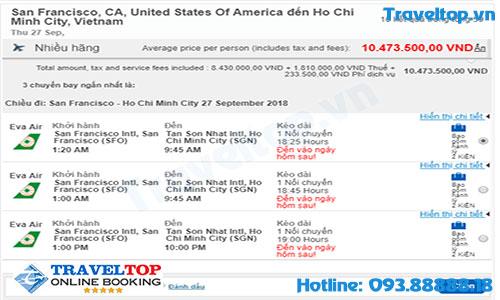 Vé máy bay từ California về Việt Nam