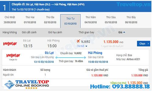 vé máy bay từ Đà Lạt đi về Hải Phòng