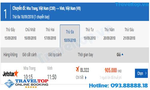 vé máy bay từ Nha Trang đi Vinh