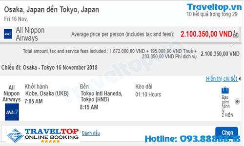 vé máy bay từ Osaka đến Tokyo