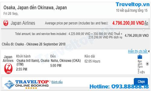 vé máy từ Osaka đến Okinawa