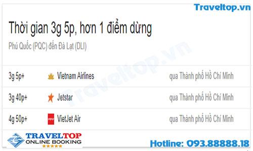 vé máy bay từ Phú Quốc đi Đà Lạt