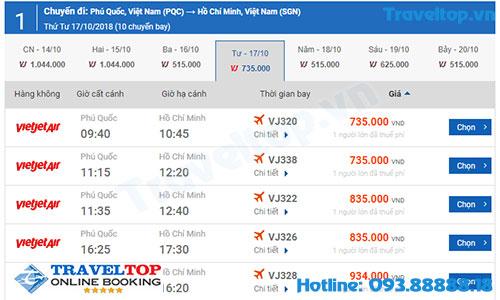 vé máy bay từ Phú Quốc về Sài Gòn
