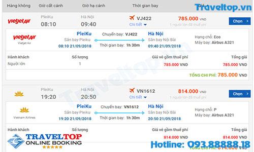 vé máy bay từ Pleiku đi Hà Nội