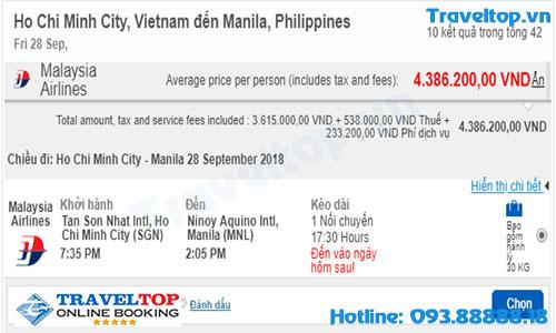 vé máy bay từ TPHCM đi Manila