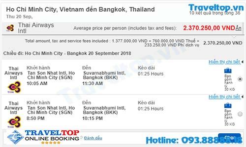vé máy bay từ TPHCM đi Thái Lan