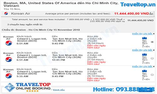 Vé máy bay từ Boston về Việt Nam