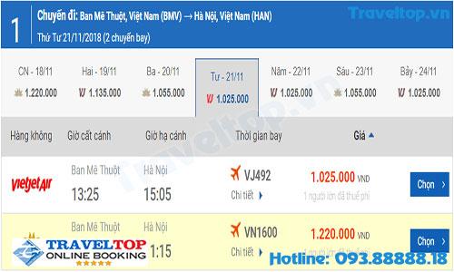 Vé máy bay từ Buôn Mê Thuột đi Hà Nội