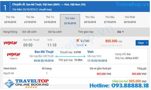 vé máy bay từ Buôn Ma Thuột đi Vinh