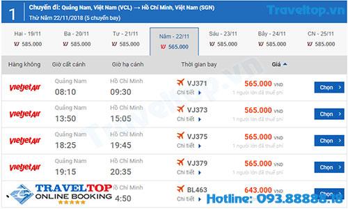 vé máy bay từ Chu Lai đi Sài Gòn
