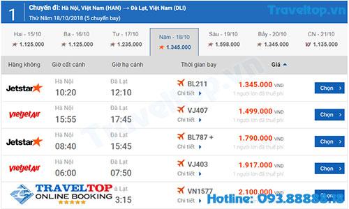 vé máy bay từ Hà Nội đi Đà Lạt giá rẻ