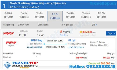 vé máy bay từ Hải Phòng đi Đà Lạt