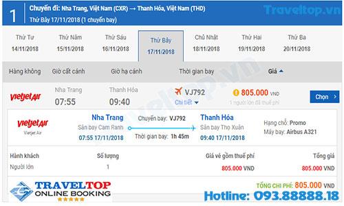 Vé máy bay từ Nha Trang đi Thanh Hóa