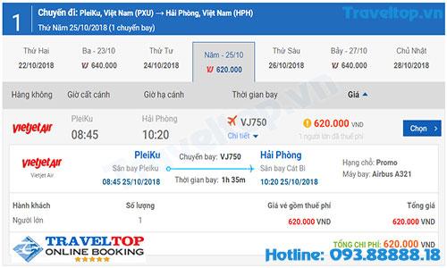 Vé máy bay từ Pleiku đi Hải Phòng