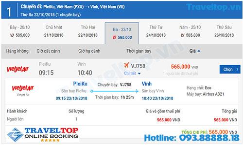 vé máy bay từ Pleiku đi Vinh