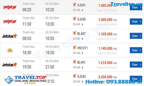 Vé máy bay từ Thanh Hóa đi TPHCM