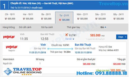vé máy bay từ Vinh đi Buôn Mê Thuột